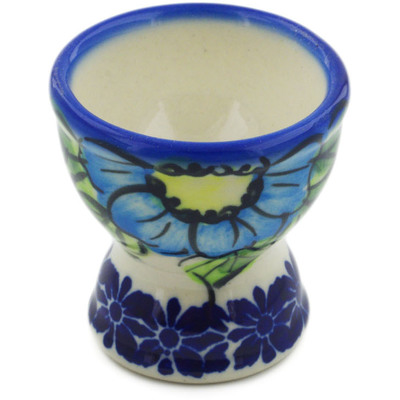"Polish Pottery Egg Holder 2"" Bold Blue Poppies UNIKAT"