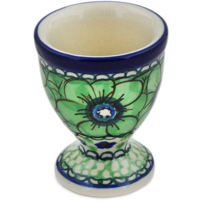 "Polish Pottery Egg Holder 2"" Green Pansies UNIKAT"
