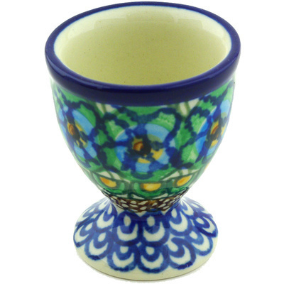 "Polish Pottery Egg Holder 2"" Mardi Gra UNIKAT"