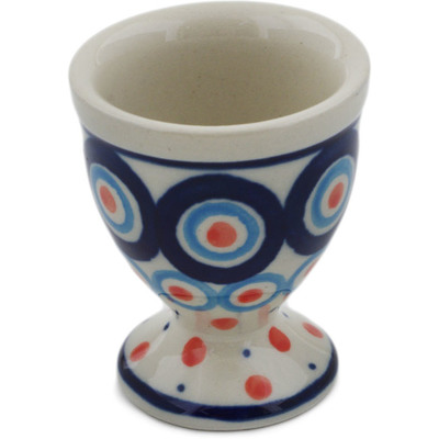 "Polish Pottery Egg Holder 2"" Modern Peacock"