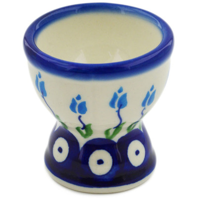 "Polish Pottery Egg Holder 2"" Peacock Tulip Garden"