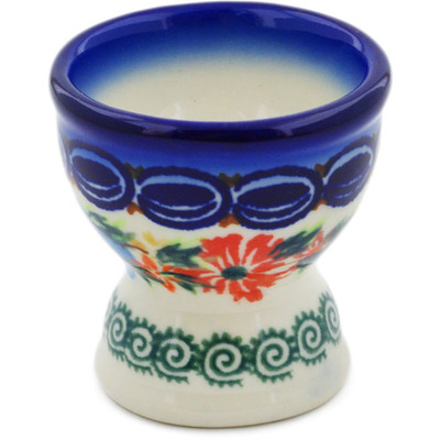 "Polish Pottery Egg Holder 2"" Ring Of Flowers UNIKAT"