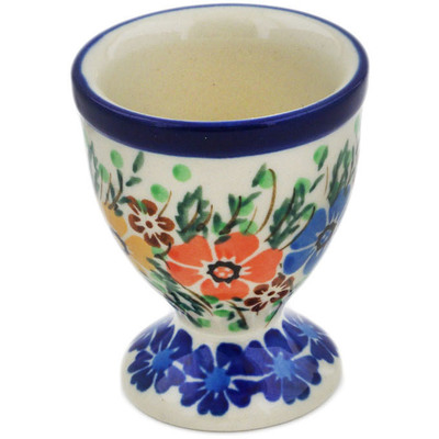 "Polish Pottery Egg Holder 2"" Spring Blooms UNIKAT"