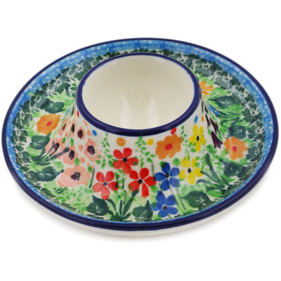 "Polish Pottery Egg Holder 4"" Colors Of The Wind UNIKAT"