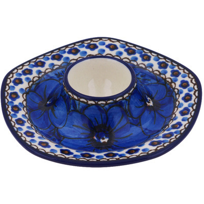"Polish Pottery Egg Holder 5"" Cobalt Poppies UNIKAT"