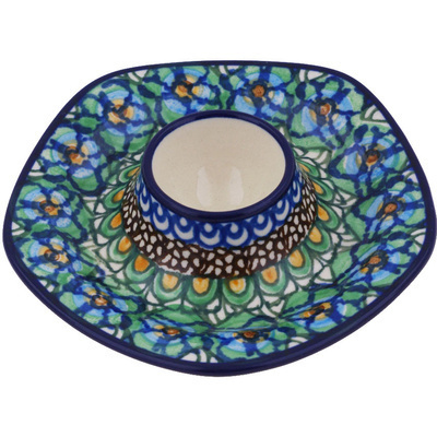 "Polish Pottery Egg Holder 5"" Mardi Gra UNIKAT"