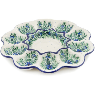 "Polish Pottery Egg Plate 11"" Blue Bell Wreath"