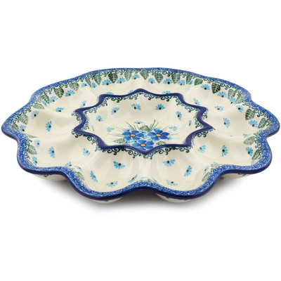 "Polish Pottery Egg Plate 11"" Forget Me Not UNIKAT"
