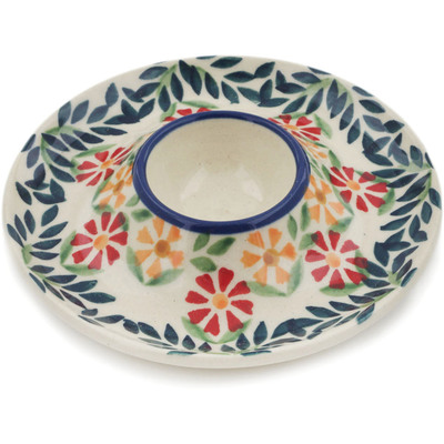 "Polish Pottery Egg Plate 5"" Wave Of Flowers"