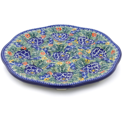 "Polish Pottery Egg Plate 9"" Dancing Pansies UNIKAT"