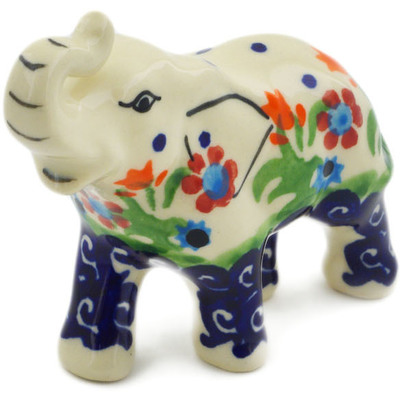 "Polish Pottery Elephant Figurine 3"" Spring Flowers"