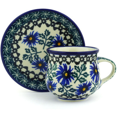 Polish Pottery Espresso Cup with Saucer 3 oz Blue Chicory