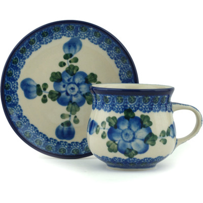 Polish Pottery Espresso Cup with Saucer 3 oz Blue Poppies