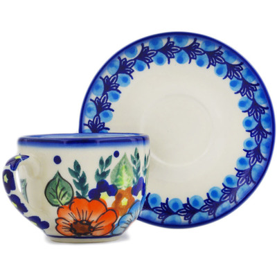 Polish Pottery Espresso Cup with Saucer 3 oz Bold Poppies UNIKAT