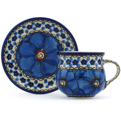 Polish Pottery Espresso Cup with Saucer 3 oz Cobalt Poppies UNIKAT