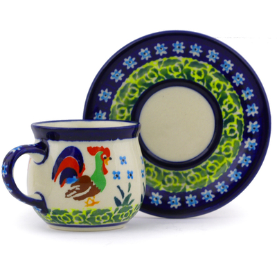 Polish Pottery Espresso Cup with Saucer 3 oz Country Rooster UNIKAT