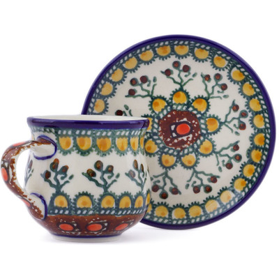 Polish Pottery Espresso Cup with Saucer 3 oz Cranberry Medley UNIKAT