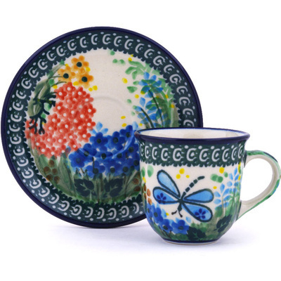 Polish Pottery Espresso Cup with Saucer 3 oz Garden Delight UNIKAT