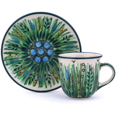Polish Pottery Espresso Cup with Saucer 3 oz Prairie Land UNIKAT