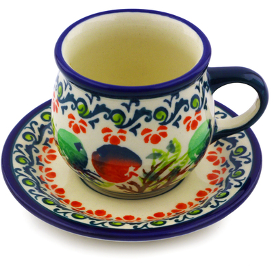 Polish Pottery Espresso Cup with Saucer 3 oz Red And Green Berries
