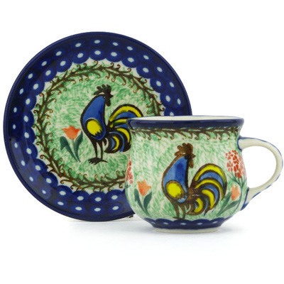 Polish Pottery Espresso Cup with Saucer 3 oz Rooster Dance UNIKAT