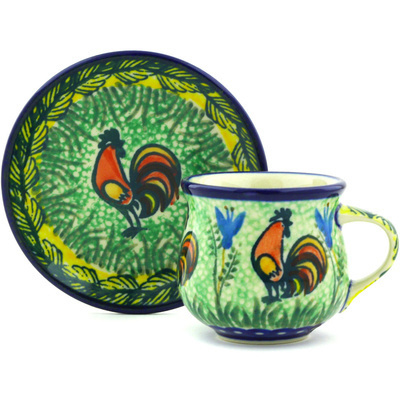 Polish Pottery Espresso Cup with Saucer 3 oz Rooster Parade UNIKAT