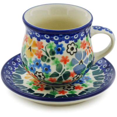 Polish Pottery Espresso Cup with Saucer 3 oz Spring Garden UNIKAT