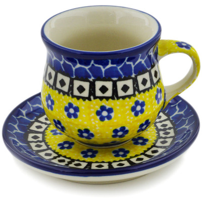 Polish Pottery Espresso Cup with Saucer 3 oz Sunburst Daisies