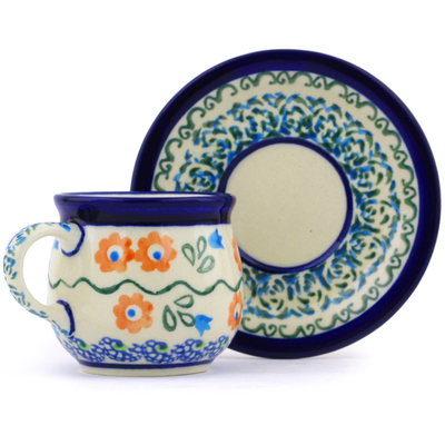 Polish Pottery Espresso Cup with Saucer 3 oz Tulip Vines