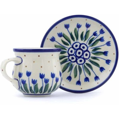 Polish Pottery Espresso Cup with Saucer 3 oz Water Tulip