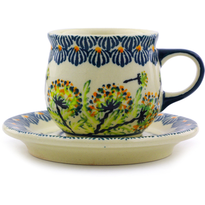 Polish Pottery Espresso Cup with Saucer 3 oz Yellow Dandelions