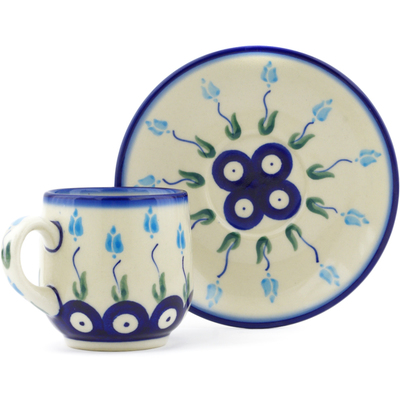 Polish Pottery espresso cup with saucer Peacock Tulip Garden