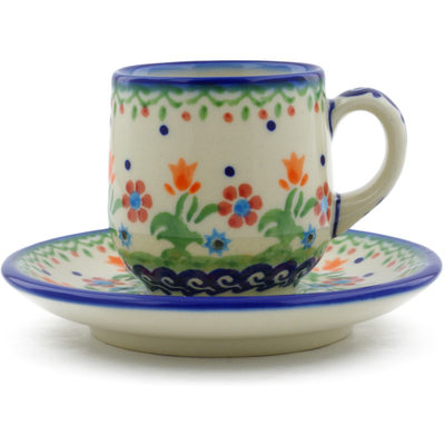 Polish Pottery espresso cup with saucer Spring Flowers