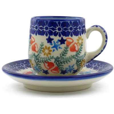 Polish Pottery espresso cup with saucer Wreath Of Bealls