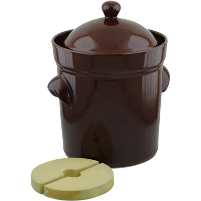 Polish Pottery Fermenting Crock Pot 10L (2.6 gal) with Weight Brown