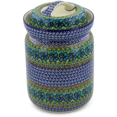Polish Pottery Fermenting Crock with Waterseal Airlock Mardi Gra UNIKAT