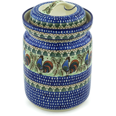 Polish Pottery Fermenting Crock with Waterseal Airlock Rooster Row UNIKAT