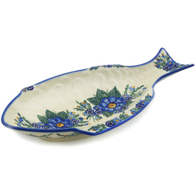 "Polish Pottery Fish Shaped Platter 17"" Blue Bouquet UNIKAT"