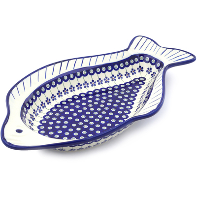 "Polish Pottery Fish Shaped Platter 17"" Flowering Peacock"