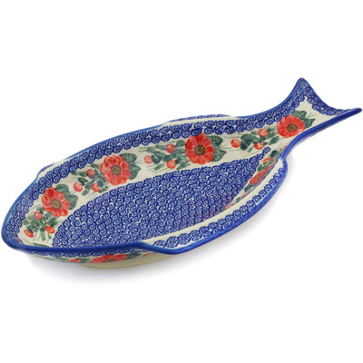 "Polish Pottery Fish Shaped Platter 17"" Red Blossom UNIKAT"