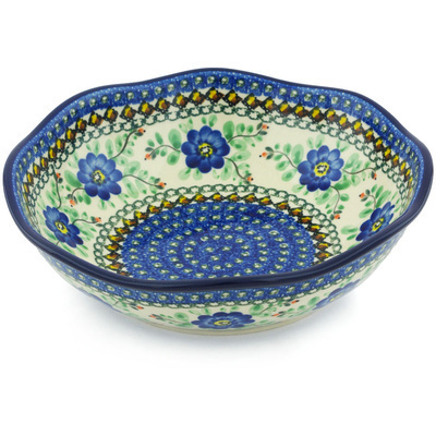 "Polish Pottery Fluted Bowl 10"" Cobalt Poppies UNIKAT"