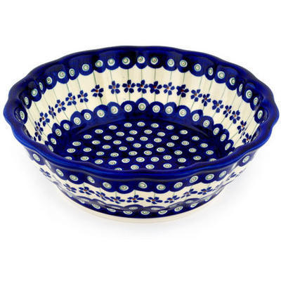 "Polish Pottery Fluted Bowl 10"" Flowering Peacock"