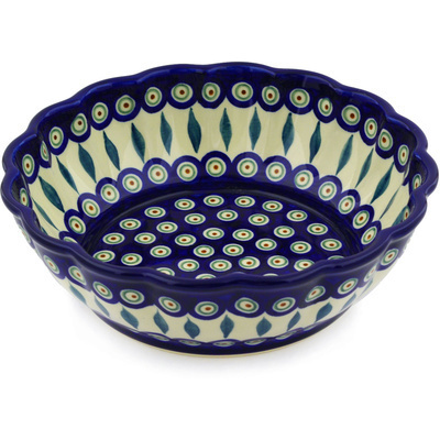 "Polish Pottery Fluted Bowl 10"" Peacock Leaves"