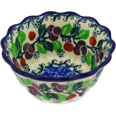 "Polish Pottery Fluted Bowl 4"" Cherries Jubilee"