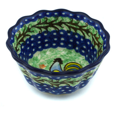 "Polish Pottery Fluted Bowl 4"" Rooster Dance UNIKAT"