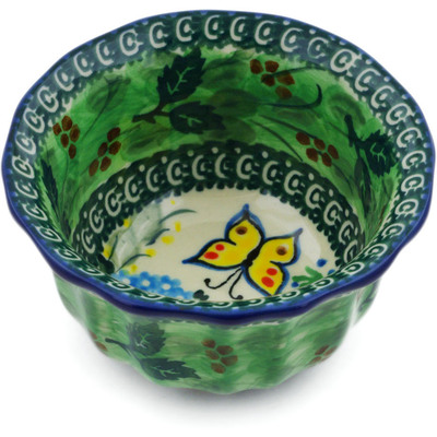 "Polish Pottery Fluted Bowl 4"" Spring Garden UNIKAT"