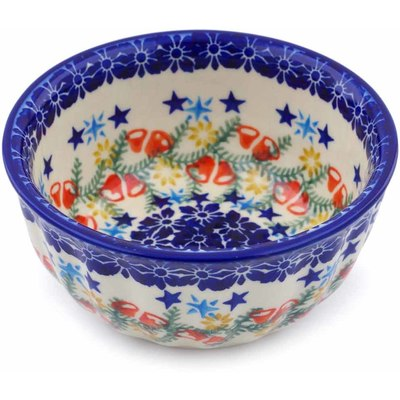 "Polish Pottery Fluted Bowl 5"" Wreath Of Bealls"