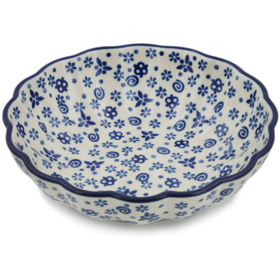 Polish Pottery Fluted Bowl 6-inch Blue Confetti