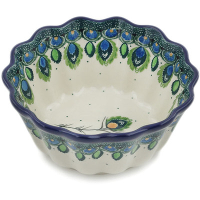 "Polish Pottery Fluted Bowl 6"" Peacock Feather"