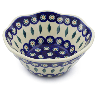 "Polish Pottery Fluted Bowl 7"" Peacock"